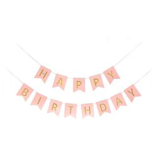 (Ins) Happy Birthday Cake Banner in Pink