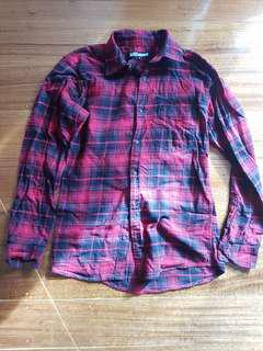 As new - red plaid flannel shirt