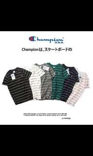 🚚 [PO]Champion stripe logo tee
