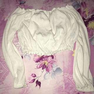 H&M white sabrina crop