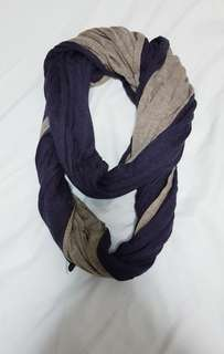 Navy and grey infinity scarf