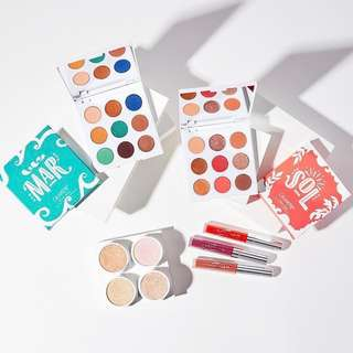 Colourpop summer 2018 collection - Sol Y Mar eyeshadow palettes, Ultra blotted lips, super shock highlighters