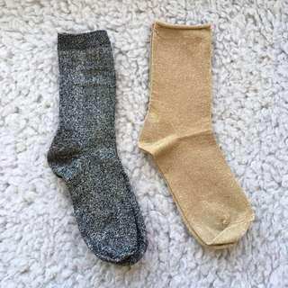 Gold Silver Socks
