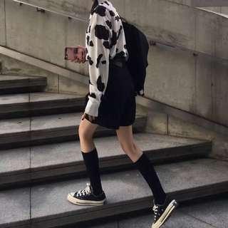 套裝💕 三木子快時尚女裝~秋裝套裝奶牛印花長袖襯衫+休閒西裝短褲+腰帶