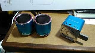 🚚 禾華本舖 迷你喇叭 圓形款式音箱 圓形款式藍色音箱。支援隨身碟、支援記憶卡。可當電腦喇叭專用。支援記憶卡隨身碟。