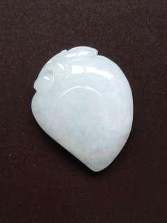 😆CLEARANCE! Grade A 冰糯 White Longevity Peach 长寿寿桃 Jadeite Jade Pendant