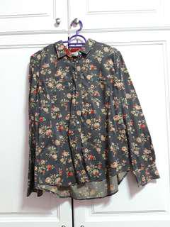 ROPE vintage blue long sleeve button up with roses #50Under