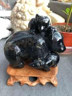 茶晶雕刻品【熊🐻一家】