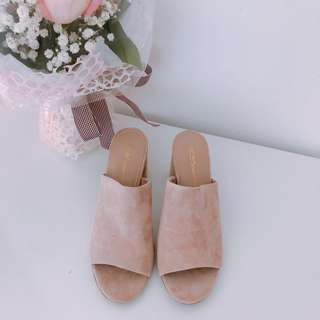 Authentic BCBG wedges nude pink