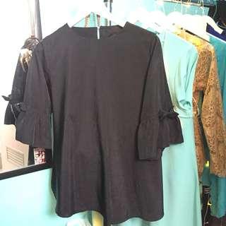 blouse hitam tangan pita