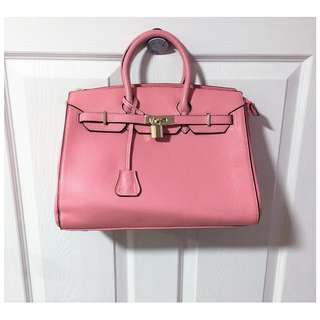 Nucelle Pink Leather Padlock Tote Bag
