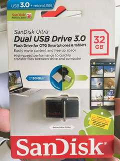 🚚 Brand new Sandisk 32GB Dual Drive USB Flash Drive