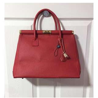 Bright Bags Audrey Red Leather Padlock Handbag