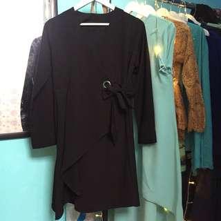 midi dress / atasan / kardigan hitam