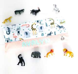 Safari Friends (Peach) Personalised Baby Beansprout Husk Pillow