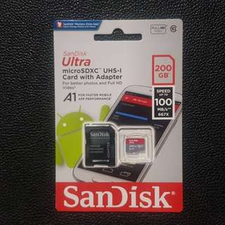Sandisk Ultra 200GB Micro SDXC UHS-I Card with Adapter - 100MB/s U1 A1