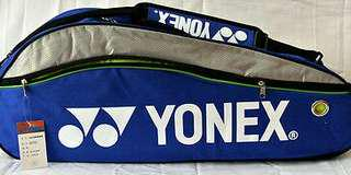 Yonex Badminton Double Zips Bag with Shoes Compartment + 2 Sides Pockets + Sling Straps