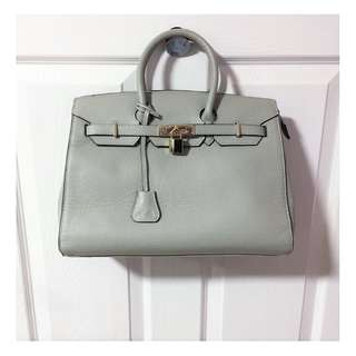 Nucelle Grey Leather Gold Padlock Tote Bag