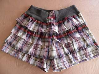 Multicolored Plaid Tier Ruffled Skirt Shorts