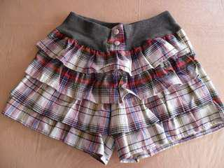 Multicolored Plaid Tier Ruffled Skirt Shorts