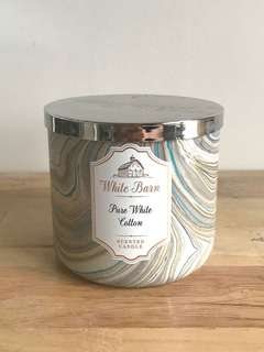 New Bath and Body Works Pure White Cotton 3 wick Candle