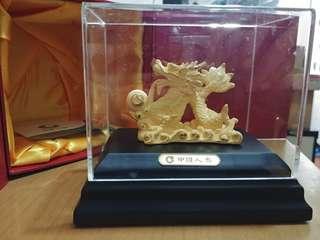 24k 鍍金龍擺設 (中國人壽紀念品)