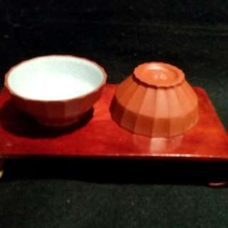 宜興多角紫砂老杯(五隻)