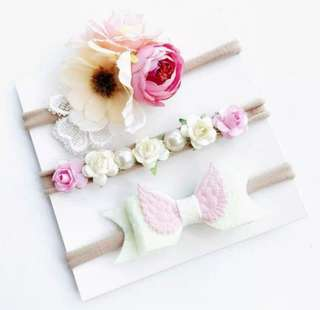 *In Stock* BN 3Pcs Sweet Girls' Hair Accessories Flower Floral Bow Knot Hairband Headband for Newborn Baby Girls & Toddlers (White Set)