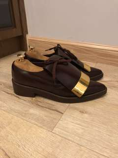 MARNI Oxford Leather Shoes with Gold Plate