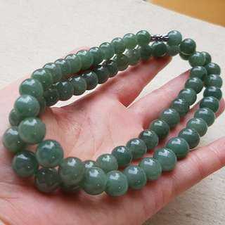 10mm Certified Type A Jadeite Necklace Oily Green Jade Beads 60 Beads L63cm