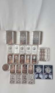 SILVER BAR - Assorted sizes & brands silver bar