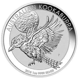 2018 澳洲笑翠鳥0.9999 銀幣 1oz 連保護圓盒