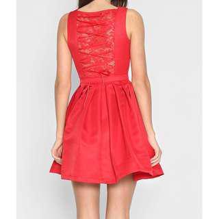 Lara J Florentino Lace-Up Dress