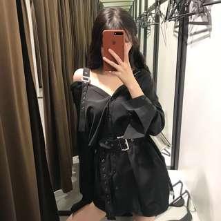 吊帶連衣裙2018春新款復古V領性感露肩裙子女夏長袖 暗黑潮牌襯衫