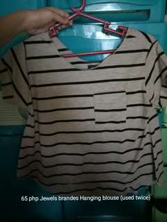 Jewels hanging blouse stripe