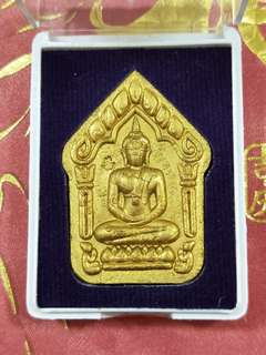 Phra Khun Pean With Double Sides Yants, With 1 Silver Takrut, Bottom With Golden No's ( 111 ). Strongly Blessed By Lp Sin