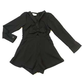 Brand New Ribbon Back Zipper Long Sleeve Black Romper Jumpsuit