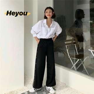 z▪撞色設計寬鬆顯瘦休閒褲