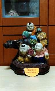 Vintage Ceramic Boys with Ox.