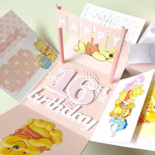 Happy 16 birthday Winnie the Pooh handmade Explosion boxcard