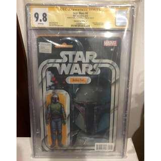 CGC SS 9.8 Star Wars #4 Boba Fett Action Figure Variant signed by John Tyler Christopher
