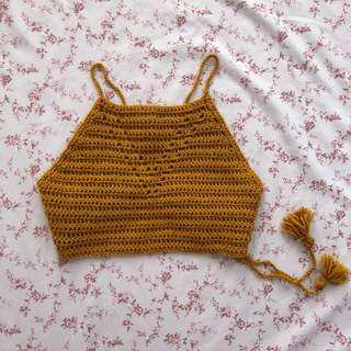 Hand-knit Back Tie Crop Top