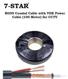 100M RG59 Coaxial Cable with Video Power Cable (100 Meter) for CCTV Camera