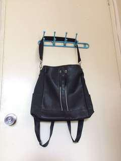 Black Leather Shoulder/Backpack Convertible Bag