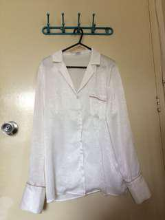 Silk Trendy Pajama Type WhitwPolo/Top Longsleeves