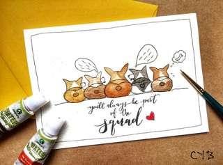 Handmade card for graduation - Corgi Butts