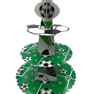 Soccer theme party supplies - soccer cupcake dessert stand / party deco