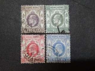 Hong Kong 1903 King Edward VII Loose Set Up to 10c - 4v Used Stamps