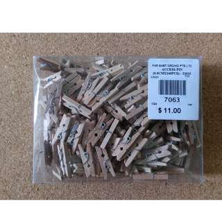 Small/Mini/Baby/Tiny/Wooden/Pegs Clips (Natural Brown Colour)