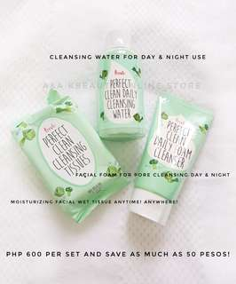 Cleansing toner, facial wash and moisturizing facial wet tissue